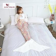 цена на Slowdream White Tail Mermaid Knitted Blanket Sofa Adult Kids Size Keep Warm TV Sofa Bed Sleeping Bag Decor All Season Crochet