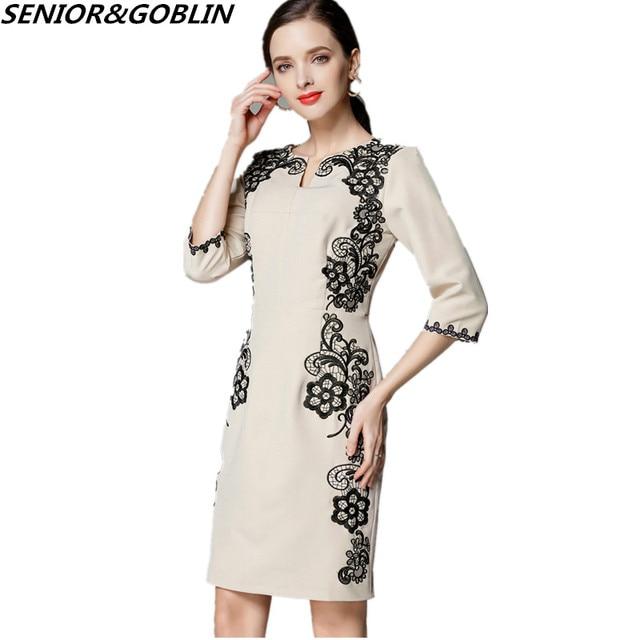 High End Woman Dress 2018 Spring Summer Office OL Dress Women Black Lace  Patchwork Fashion Plus e2978e5aefe6