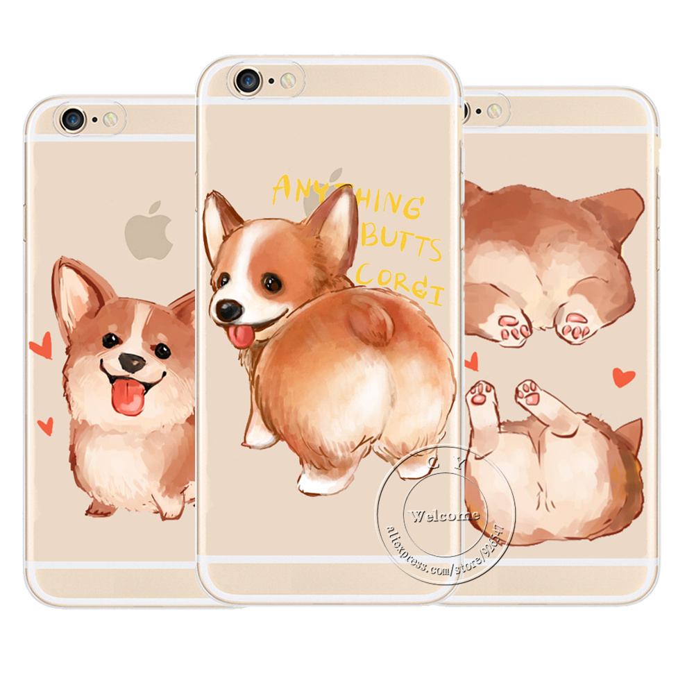 official photos 1477c 6c7e6 Super Cute Corgi Case For Apple iPhone 7 5 5S SE 6 6S 8 Plus X Sexy Cartoon  Dog Ass Transparent Hard Plastic Phone Cover-in Fitted Cases from ...