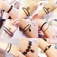 Many Designs Smile Face Black Drip Pendants Leather Woven Floral Chains Special Fashion Bracelets For Women(China)