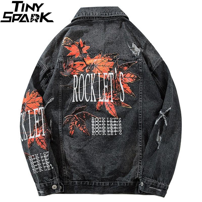 Hip Hop w stylu Vintage Denim kurtki pilotki zgrywanie otworów liść klonu jeansowa kurtka Streetwear męskie znajdujących się w trudnej sytuacji Denim kurtka jesień 2018 w Kurtki od Odzież męska na  Grupa 1