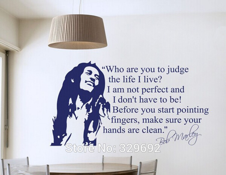 Free Shipping Wholesale Bob Marley Quotes Vinyl Wall Decals Poster Part 60