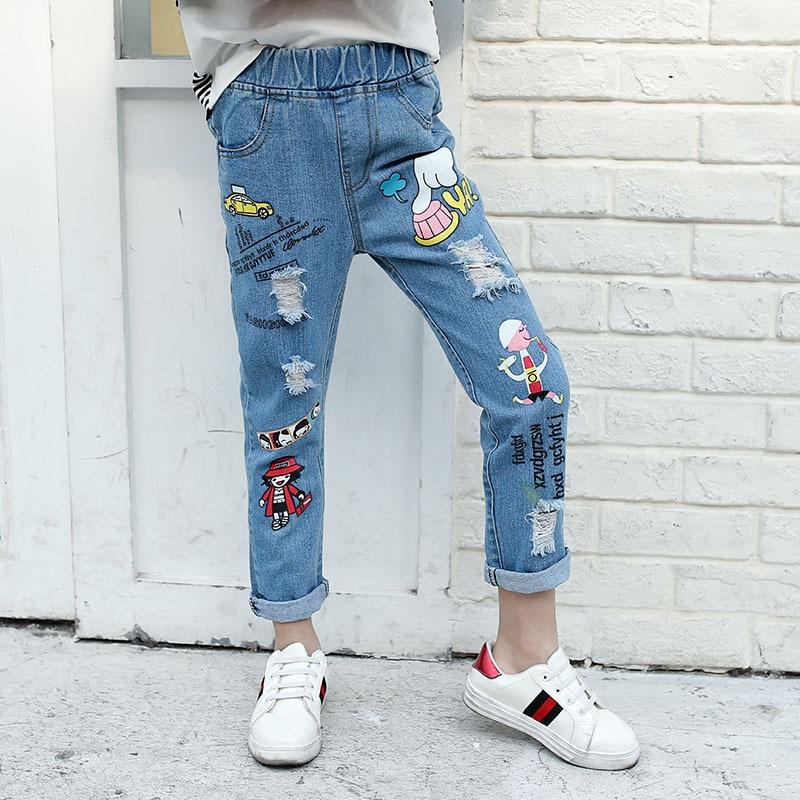 94923070fe0 Teenage Girls Jeans 2018 Spring Summer Children Broken Hole Pants Kids  Denim Trousers Cartoon 8 10 12 14 Years Old-in Jeans from Mother   Kids on  ...