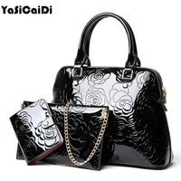 YASICAIDI High Quality PU Leather Women Handbags Floral Printing Patent 3pcs Set Purse Composite Messenger bag Leisure Tote Sac