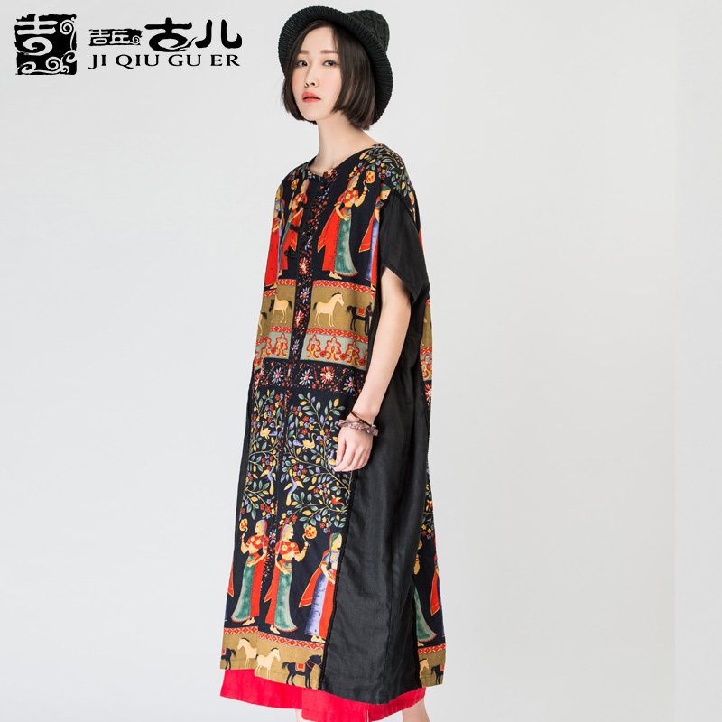 a43d1734dbd Jiqiuguer Brand women s original design personalized print loose ethnic  dress medium long 100 linen vintage dresses G161Y023-in Dresses from Women s  ...