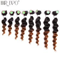 8 14inch 8pcs/pack Loose Deep Weave Heat Resistant Synthetic Hair Sew in Hair Extensions for a head Hair Expo City