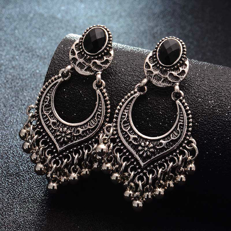 Metal Vintage Tassel Earrings Fashion Jewelry 2019 Indian Boho Carved Ancient Silver Drop Earrings For Women Oorbellen earrings