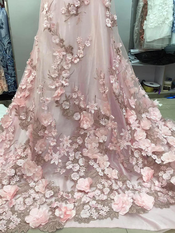 Lux 3D Pearl Beaded Blossom Floral Embroidery Lace Fabric in Pink Fabric by Yard , Haute Couture Bridal Wedding Gown Accessories