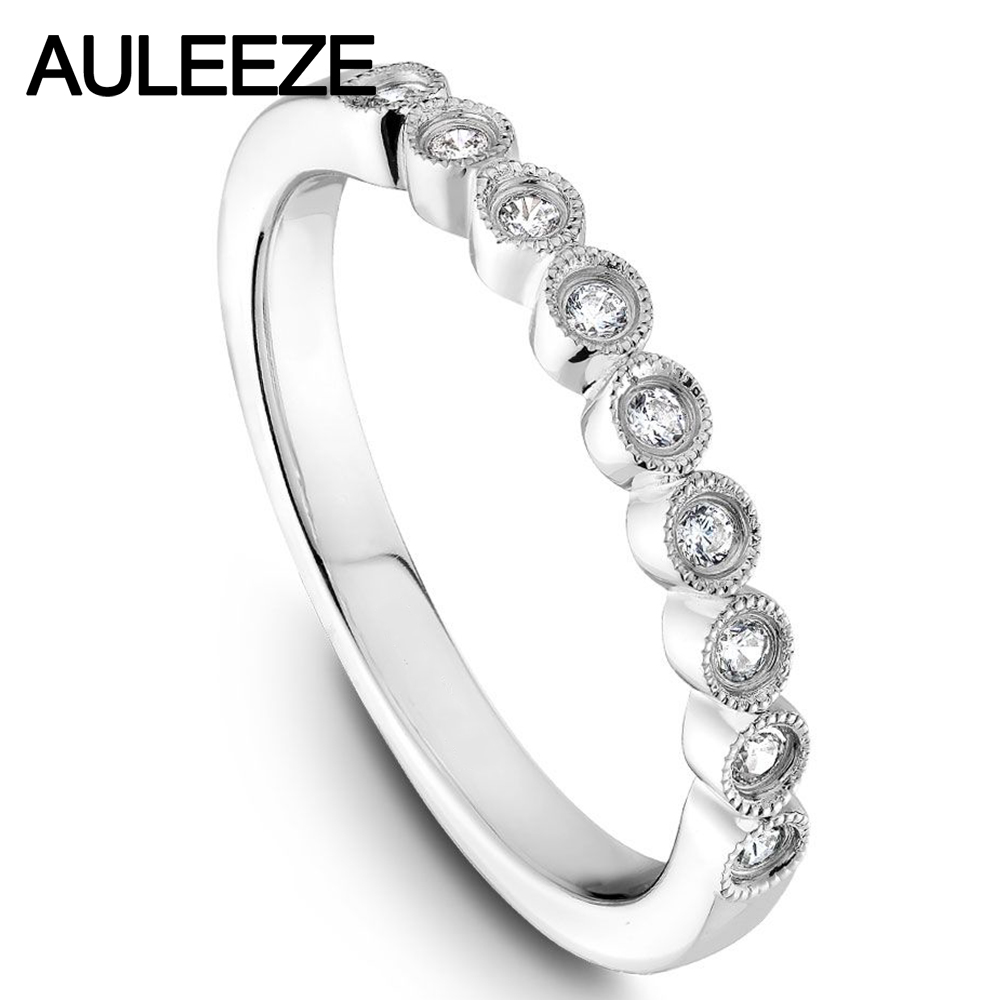 14k White Gold Flower Ring For Women Unique Hollow Moissanites