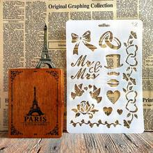 Lovely Hat Heart Design Stencils for DIY Scrapbooking Plastic Handmade Template Crafts Art Diary Decor Painting Spray Tool Card
