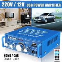 Universal 220V/12V Mini Dual Use Audio Power Amplifier Stereo USB SD FM Bluetooth Hi Fi Player For Home Stage Car Remote Control