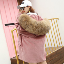 2018 new JKP female coat with raccoon collar and lamb wool lining paragraph star fashion and warm