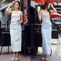 2016 nova Coreano Saia Jeans Stretch plus size saco hip passo fenda longa saia jeans