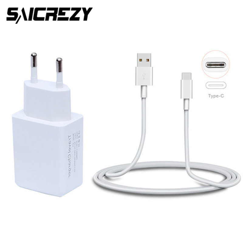USB Type C Wall Charger 5V 2.4A Travel Charger Adapter + USB Type-C Cable For Huawei Hon ...
