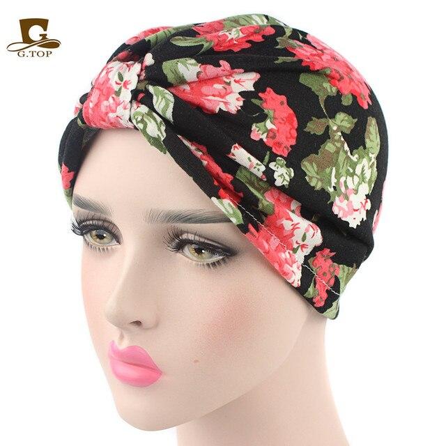 Nuovo stile vintage Cotone stampa floreale Cappello Turbante Fascia Wrap Chemio  Bandana Hijab Pieghe Cap Indiano 6268af8b9314