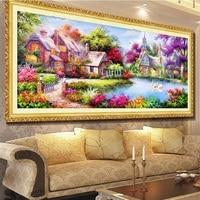 2017 DIY 5D Diamond Paintings Mosaic Landscapes Garden Cottages Cross Stitch Suites Diamond Embroidery Home Decor