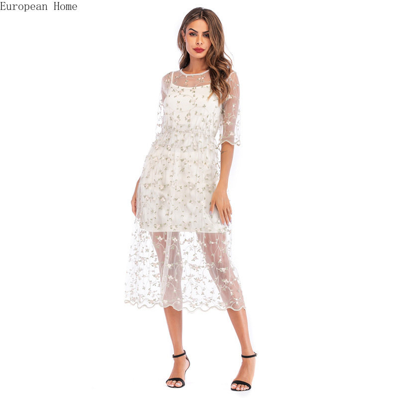 Women's Dresses 2019 New Leisure Flower Embroidery Two piece Medium length with Yarn Mesh and A shaped white Dresses