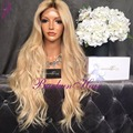 180% density Ombre synthetic lace Wig honey Blond brazilian hair lace front wig Natural wavy Wig Ombre glueless Lace Front Wig