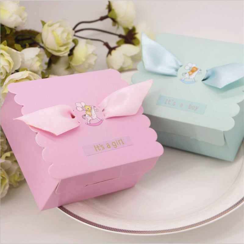 LEEFT 50pcs Gril Boy Birthday Paper Candy Box Gift Box DIY Cookie Gift Box Casamento Baby Shower Decoration Chocolate Boxes Bags