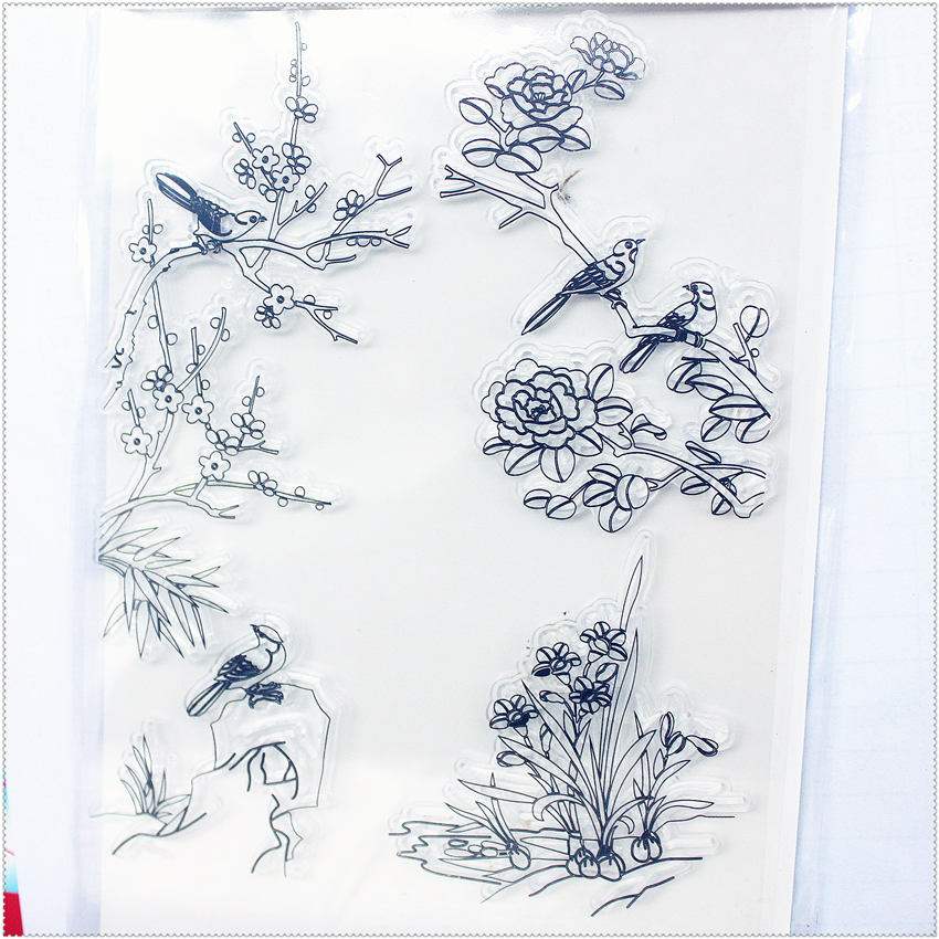 PANFELOU 11.3*15.56 plum flower bird Transparent Silicone Rubber Clear Stamps cartoon for Scrapbooking/DIY  wedding album from 2012 ea1420 1ms new 0626 coastal bird stamps