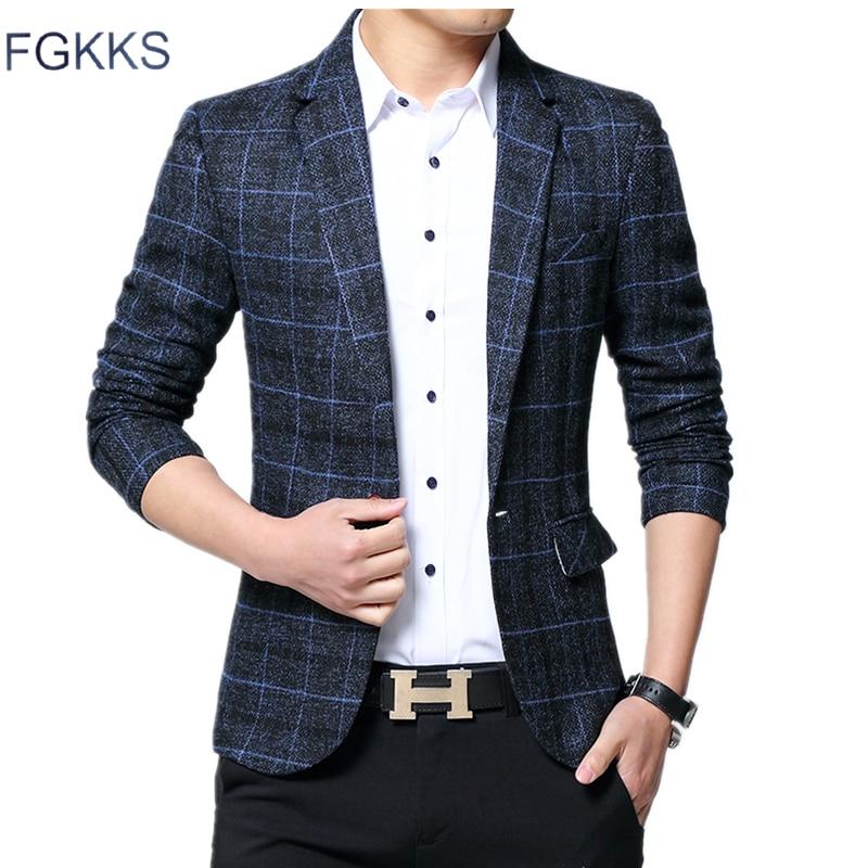 FGKKS Fashion Brand Men's Suit Jackets Autumn Slim Fit One Button Suit Blazer Fashion New Stylish Formal England Suit Jackets