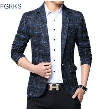 Мужской приталенный пиджак FGKKS, модный брендовый пиджак на одной пуговице в английском стиле, осень 2019