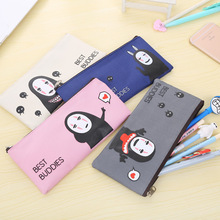 19*9cm Korean Harajuku Style Cartoon Canvas Faceless Man Pencil Case Stationery Storage Organizer Case School Supply Student