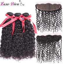 Water Wave Bundles With Frontal Brazilian 3 Bundles With Closure Remy Human Hair 13x4 Lace Frontal With Bundles Black LUXE DIVA