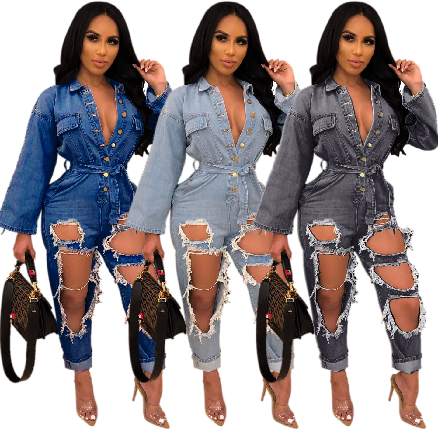 Sexy Single-breasted Open-chest Style Clothes Fashion Loose Long-sleeved Washed Hole Tooling Denim   Jumpsuit   Xm6102 Summer