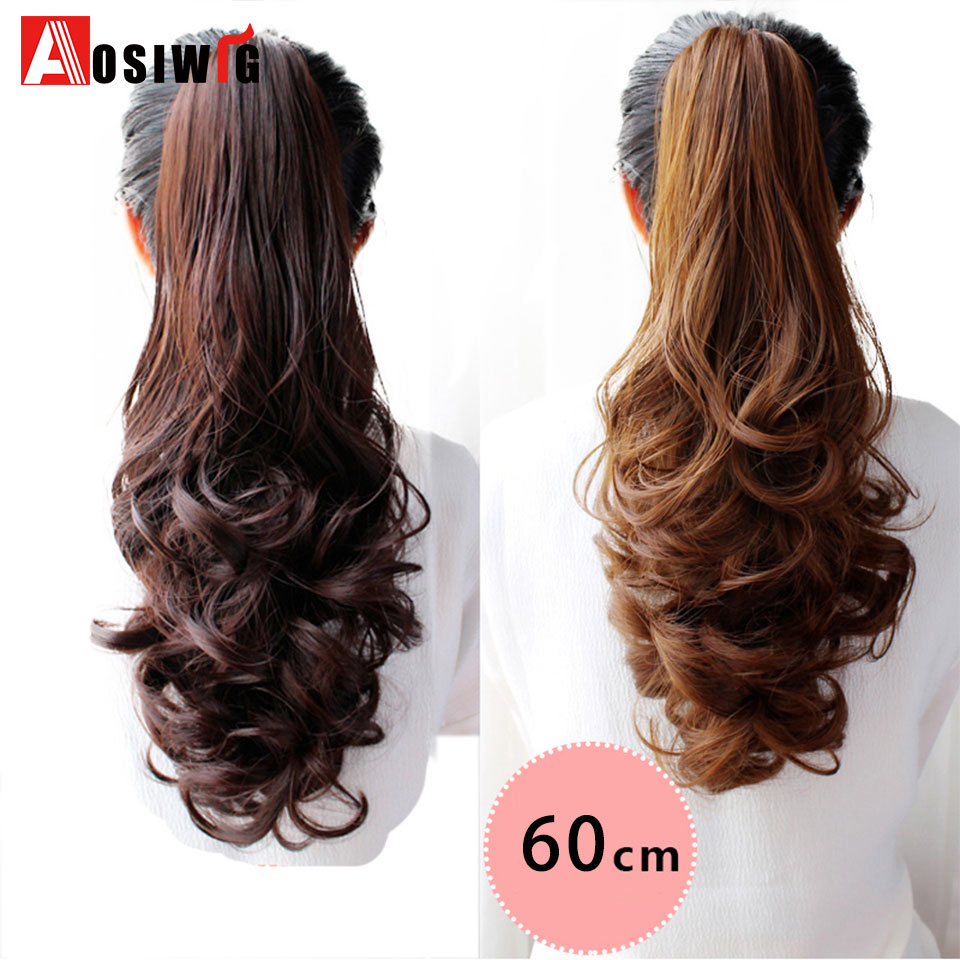 Best Price Aosi Wig Long Wavy Real Natural Ponytail Clip In Pony