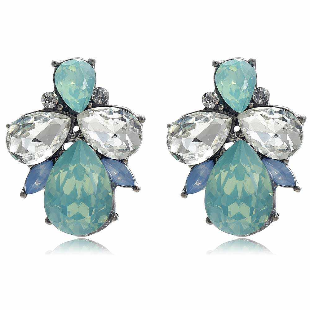 YaYi Green White Blue Opalescence Glass White Rhinestone Dangle Earring Women's Fashion Gun Black Gem Earrings For Women E1097