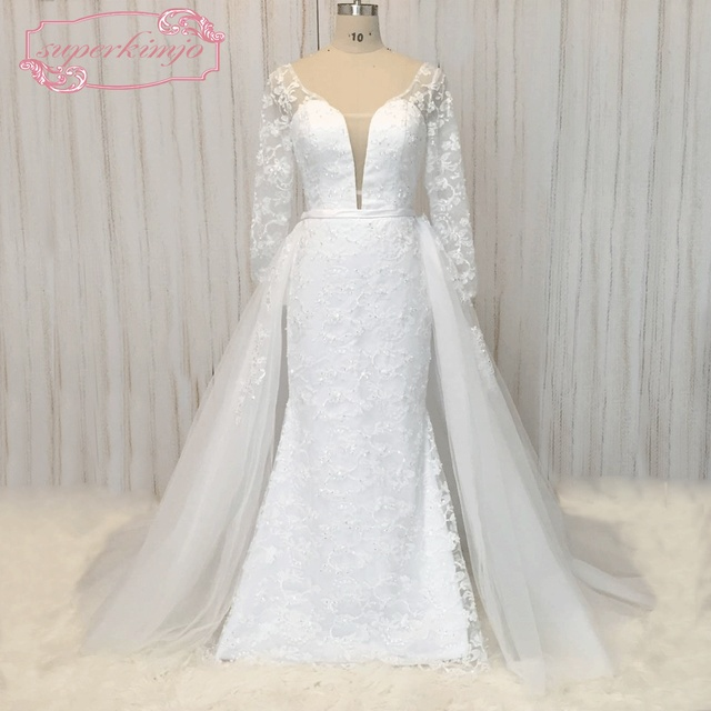 superkimjo detachable skirt wedding dresses 2018 mermaid lace