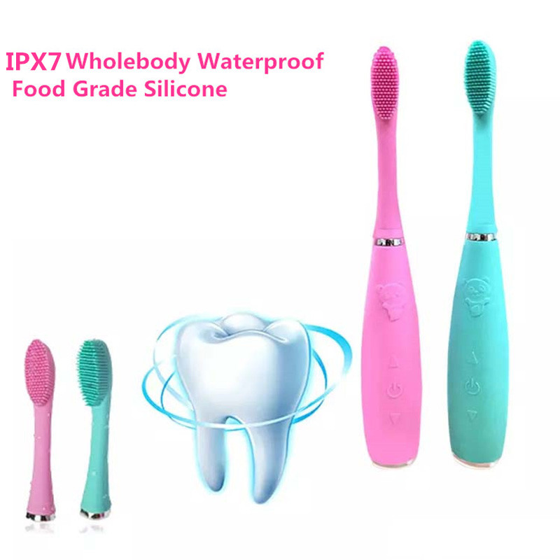USB Rechargeable Sonic Silicone Electric Toothbrush Brush Dental Head Waterproof Deep Clean Food Grade Teeth Whitening