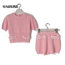 Girls Womens Knitting Suit Sets knitted tracksuit women set Knitting Suits Shorts 2 piece set Spring summer Women two piece set