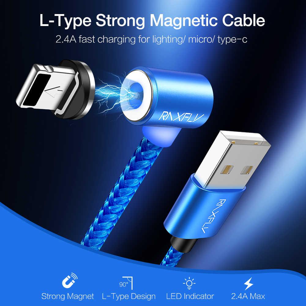 RAXFLY المغناطيسي USB كابل شحن ل iphone 11 برو ماكس XR 2.4A المغناطيسي شاحن المصغّر USB نوع C كابل ل Xiaomi سامسونج S10