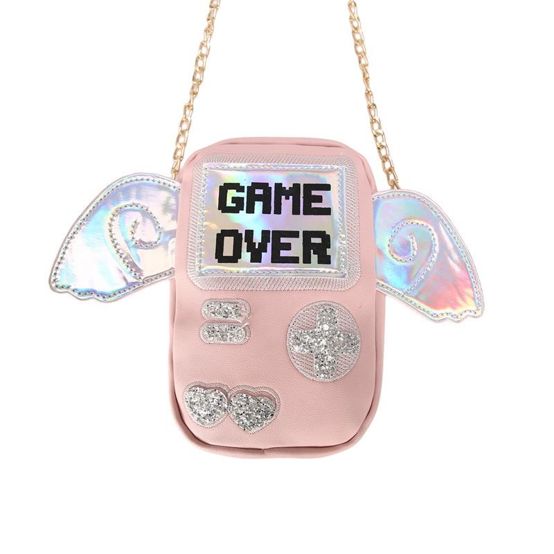 Chain Handbag Embroidery-Game-Machine Shoulder-Bag Over-Print Fashion Women Sweet PU