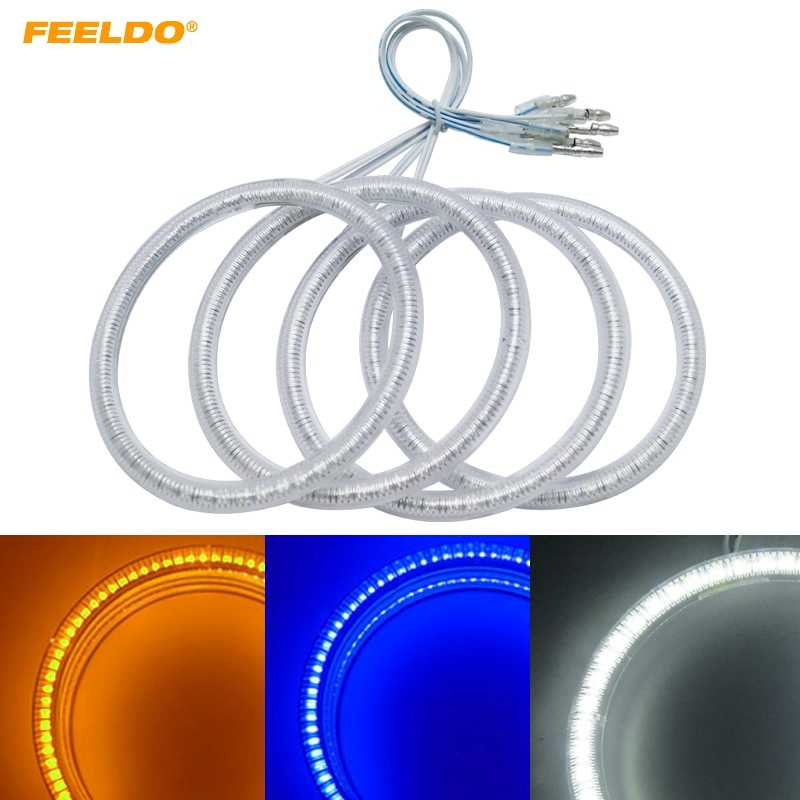 FEELDO 4X100mm Car LED Halo Rings Angel Eyes DRL Head Lamp For Ford Focus 08+ Bi-Xenon #HQ3348