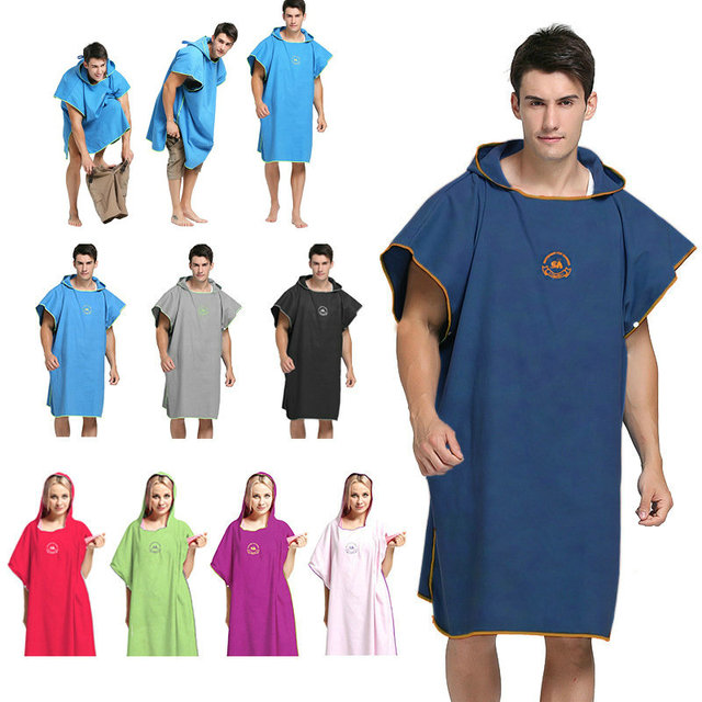 90*110 Microfiber Beach Towel Wetsuit Changing Robe Poncho with Hood Quick Dry Hooded Towels for Swim Man Women Bathrobe Towels