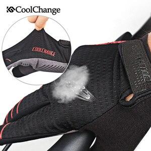 Image 4 - CoolChange wiatroszczelne rękawice rowerowe Full Finger sportowe rękawice na rower górski ekran dotykowy zimowe jesienne rękawice rowerowe mężczyzna kobieta