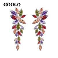 Elegant High Quality Cubic Zirconia Earrings silver Plated Leaves Dangle Earrings GLE1605