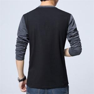 Image 3 - BROWON Camiseta de moda para hombre, camiseta con diseño de retales de Color, camisetas de algodón para hombre, camiseta de manga larga con cuello en V para hombre