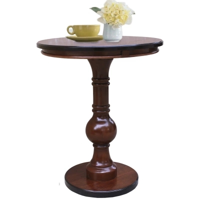 American style solid wood side round table European style simple small round table phone table sofa side table toughened glass small tea table phone sofa the round table
