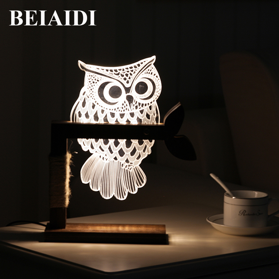 BEIAIDI 3D Vision Owl LED Night Light Dimmable LED Table Lamp For Bedroom Wooden Base Bedside Table Lamp Creative Holiday Gift wooden modern led 3d table lamps creative personality bedroom bedside night light lampe deco birthday gift elk