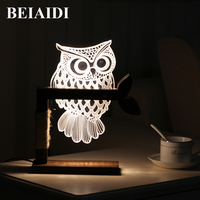 BEIAIDI 3D Vision Owl LED Night Light Dimmable LED Table Lamp For Bedroom Wooden Base Bedside Table Lamp Creative Holiday Gift