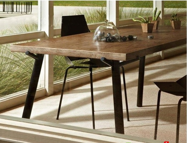Hierro americano de madera antigua mesa de comedor y sillas de ...