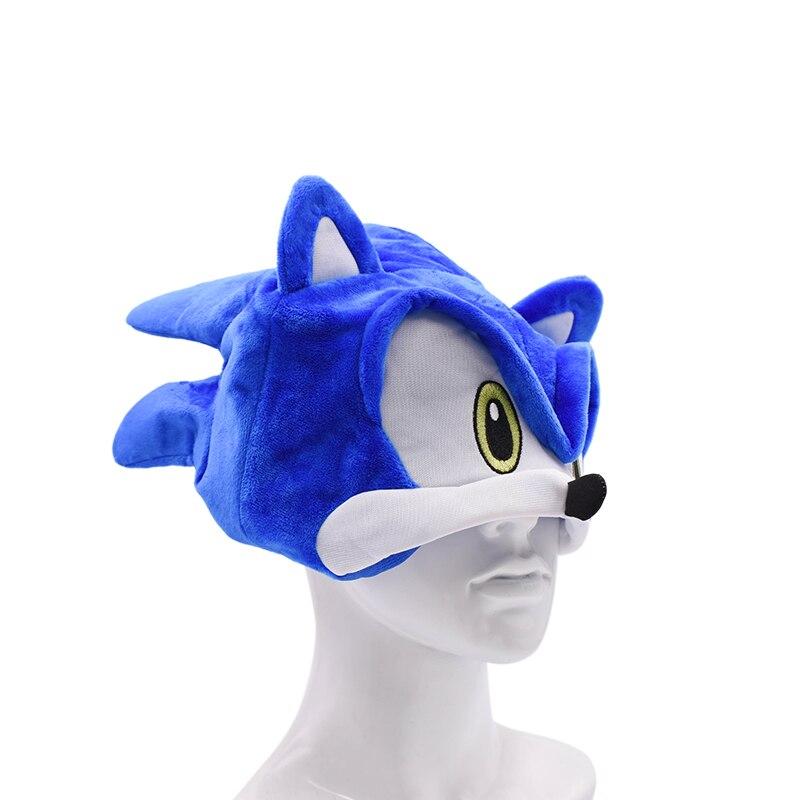 10 pcs lot Sonic Adjustable Sonic Hat Cartoon Summer Hat Soft Plush Toy One Size Hot