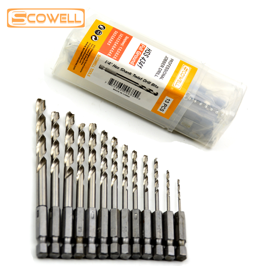 Professional Power Tools13pc Hex Shank High Speed Steel Quick Change Titanium Drill Bits Set Tool 1.5-6.5mm Countersink