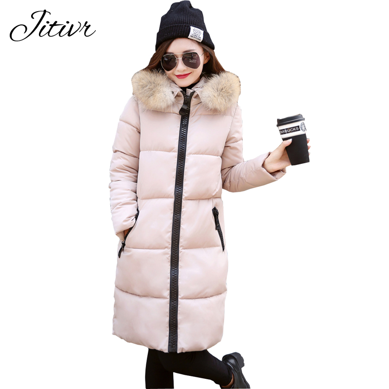 2017 New Women s Winter Coat High Quality Warm Slim Fashion Jacket Plus Size Fur Collar