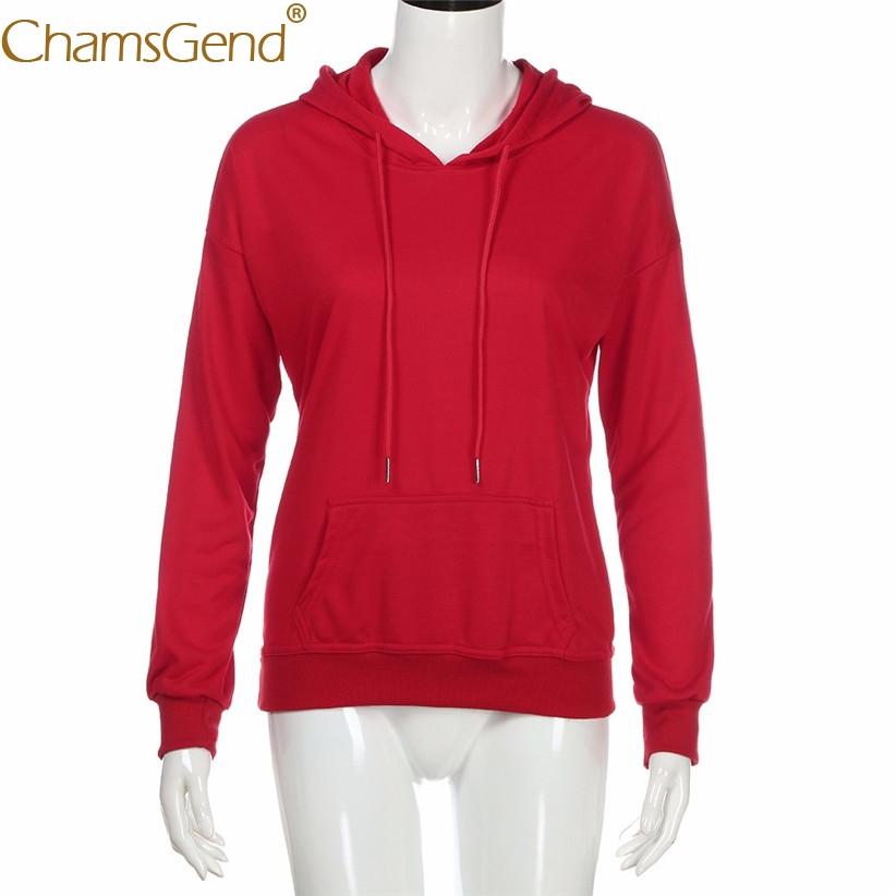 Chamsgend Women Hoodies Girls Fashion Casual Sweatshirt Red Solid Female Oversize Hoodie Sweatshirts With Pocket Shirt 71228