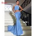 Sexy Trumpet/Mermaid Prom Party Dress Fast Shipping Halter Satin Court Train Two Piece Backless Prom Dresses 2017